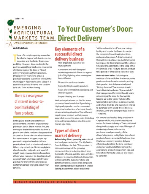 Direct Marketing: To Your Customer's Door: Direct Delivery
