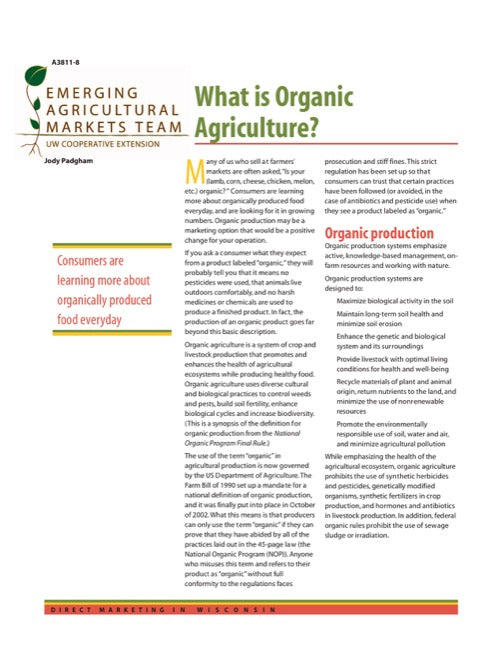 Direct Marketing: What is Organic Agriculture?