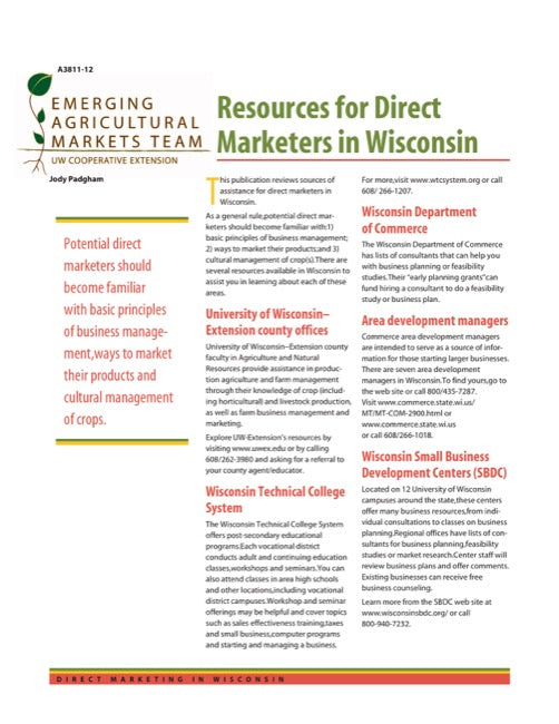 Direct Marketing: Resources for Direct Marketers in Wisconsin