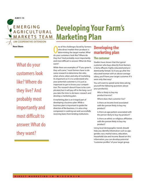 Developing Your Farm's Marketing Plan