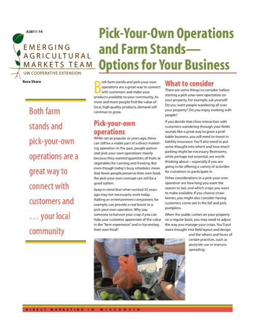 Direct Marketing: Pick-Your-Own Operations and Farm Stand Options for Your Business