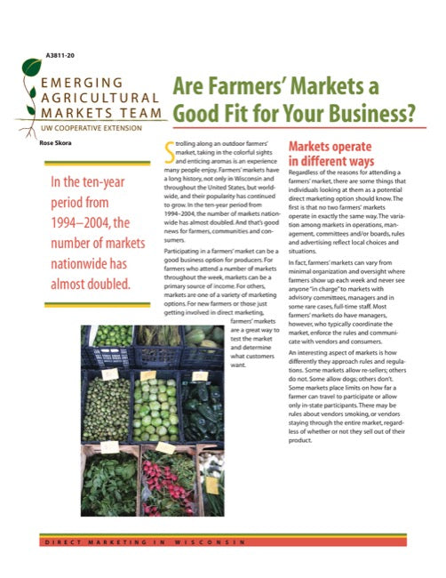 Direct Marketing: Are Farmers' Markets a Good Fit for Your Business?