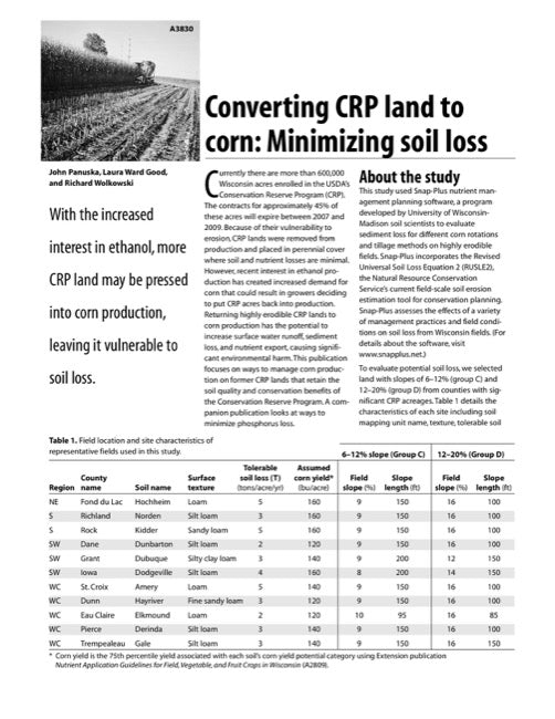 Converting CRP Land to Corn: Minimizing Soil Loss
