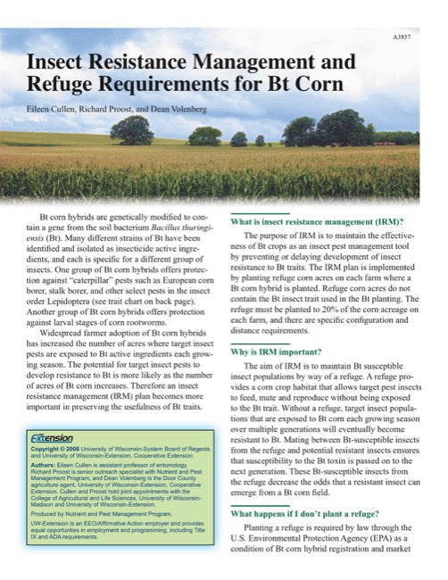 Insect Resistance Management and Refuge Requirements for Bt Corn