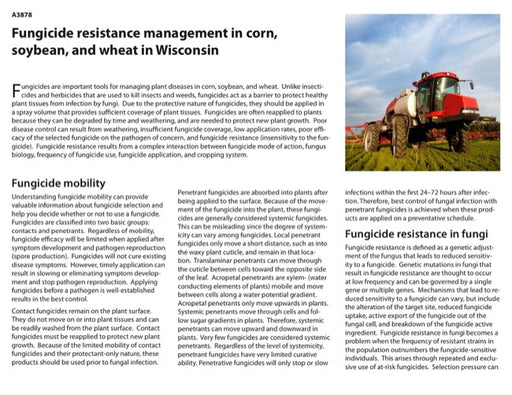 Fungicide Resistance Management in Corn, Soybean, and Wheat in Wisconsin