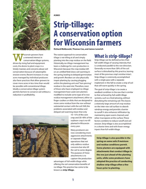 Strip-Tillage: A Conservation Option for Wisconsin Farmers