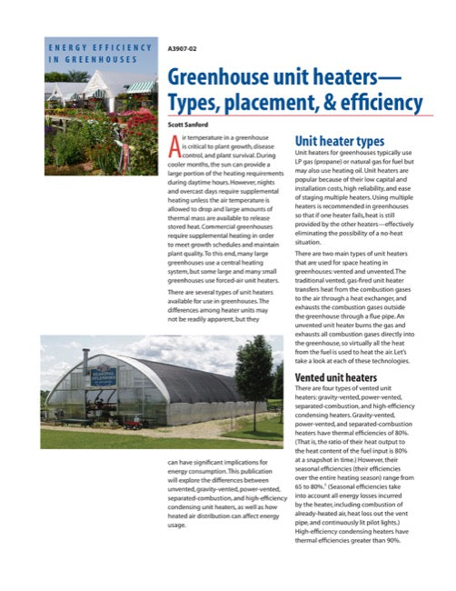 Greenhouse Unit Heaters: Types, Placement, and Efficiency