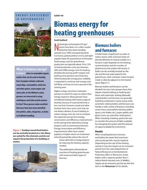 Biomass Energy for Heating Greenhouses
