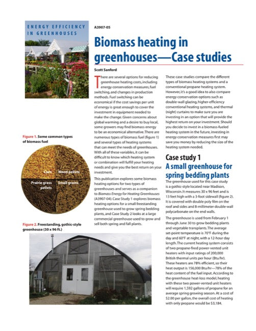 Biomass Heating in Greenhouses: Case Studies