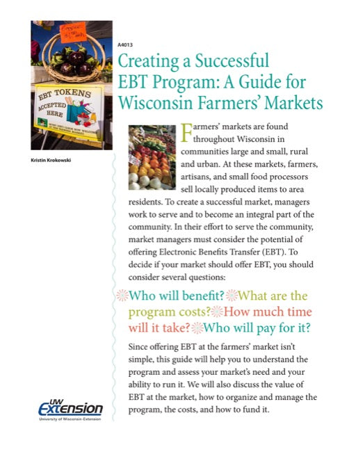 Creating a Successful EBT Program: A Guide for Wisconsin Farmers' Markets