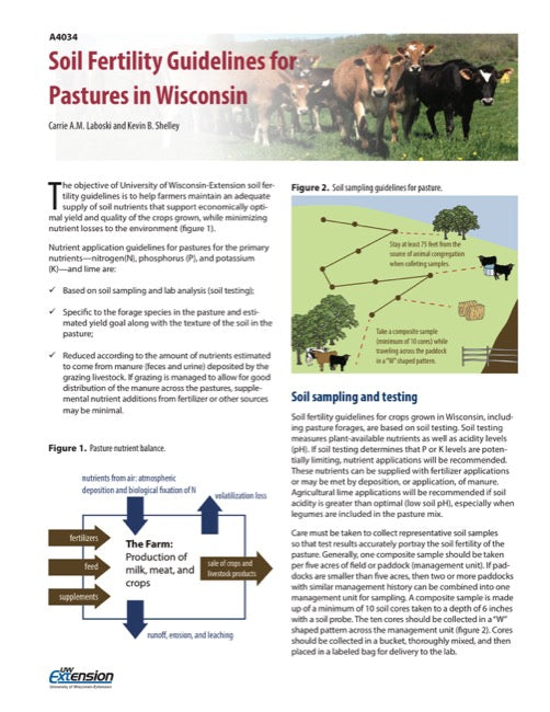 Soil Fertility Guidelines for Pastures in Wisconsin