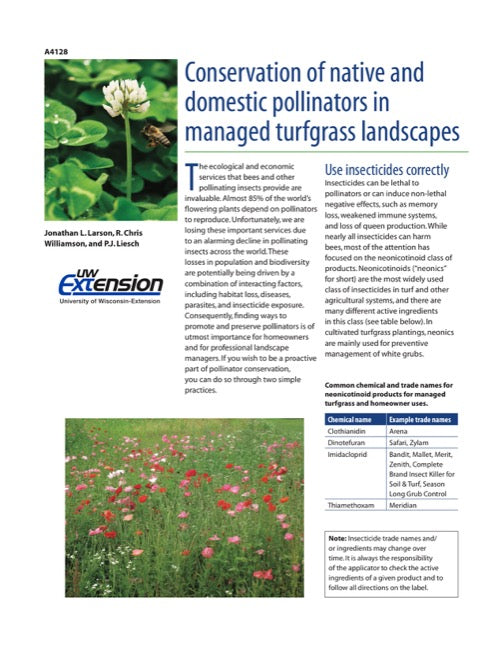 Conservation of Native and Domestic Pollinators in Managed Turfgrass Landscapes