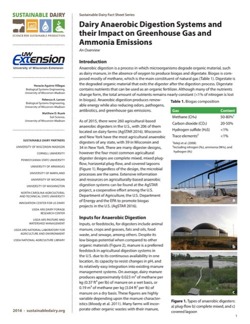 Dairy Anaerobic Digestion Systems and their Impact on Greenhouse Gas and Ammonia Emissions
