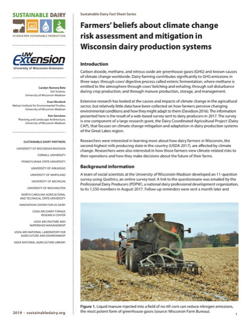 Farmers' beliefs about climate change risk assessment and mitigation in Wisconsin dairy production systems