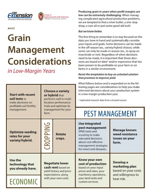 Grain Management Considerations in Low-Margin Years