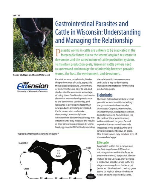 Gastrointestinal Parasites and Cattle in Wisconsin: Understanding and Managing the Relationship