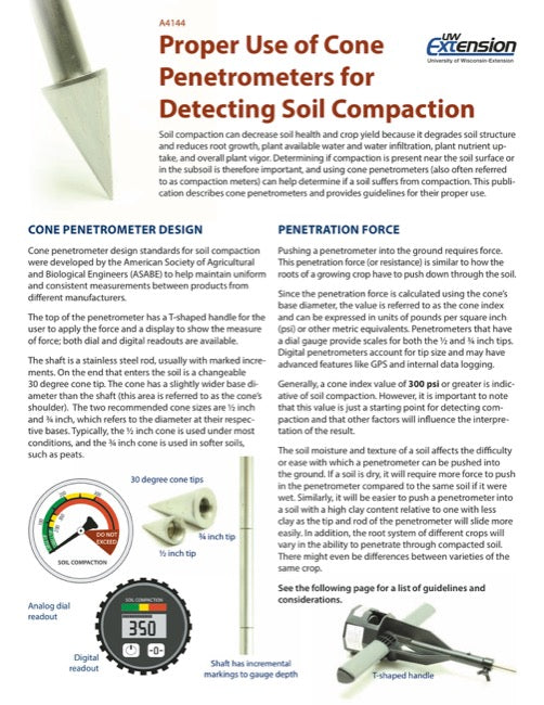 Proper Use of Cone Penetrometers for Detecting Soil Compaction