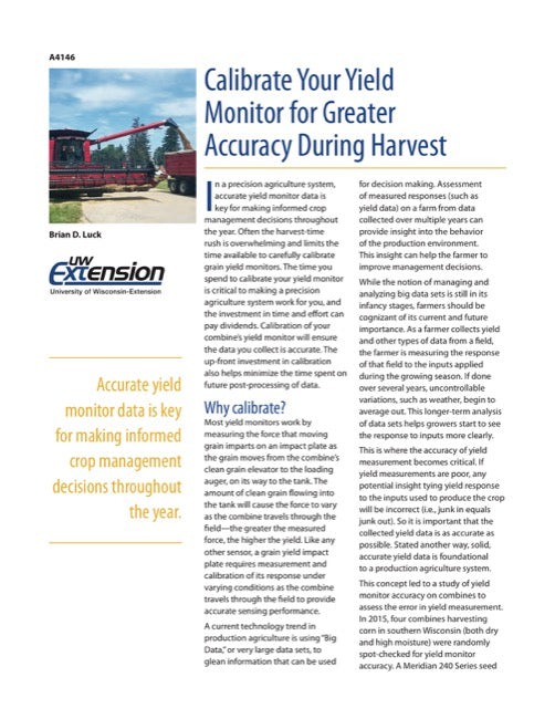 Calibrate Your Yield Monitor for Greater Accuracy During Harvest