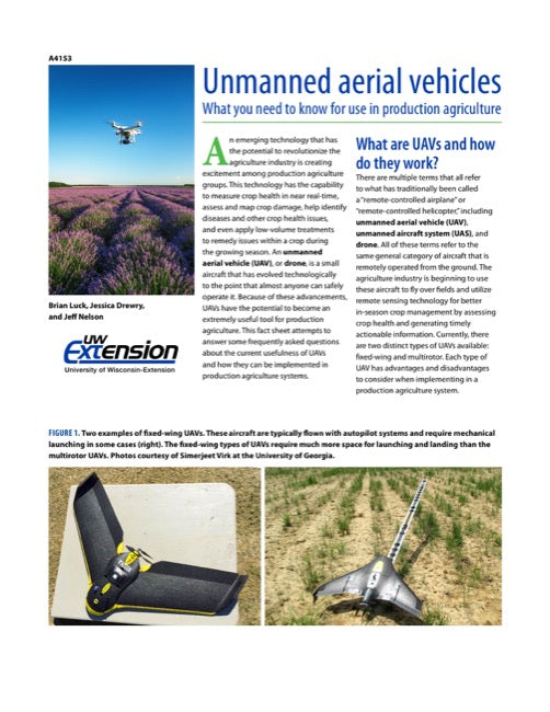 Unmanned Aerial Vehicles: What You Need to Know for Use in Production Agriculture