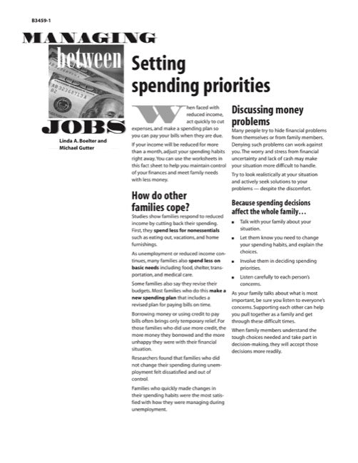 Managing Between Jobs: Setting Spending Priorities