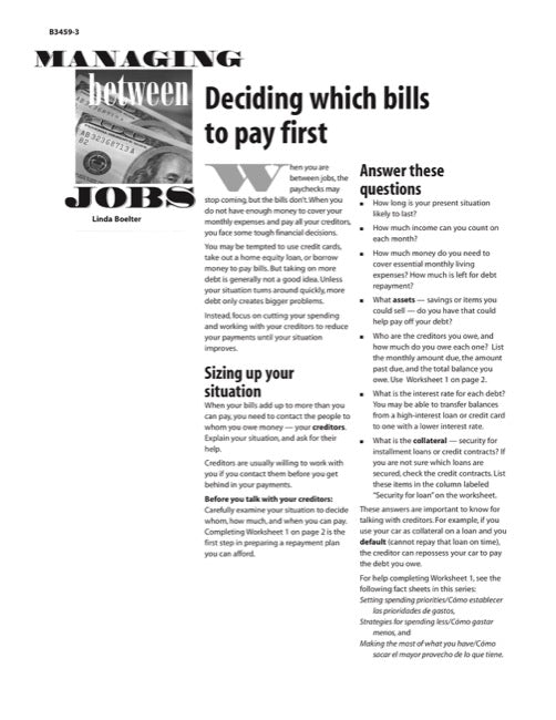 Managing Between Jobs: Deciding Which Bills to Pay First