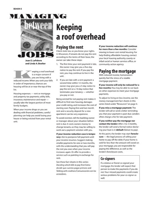 Managing Between Jobs: Keeping a Roof Overhead