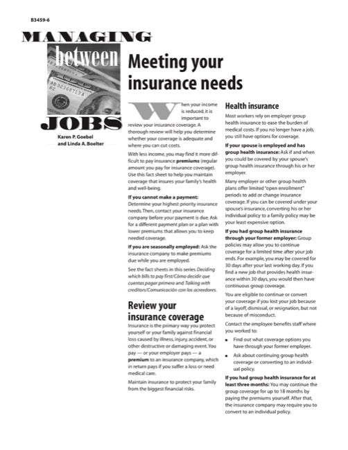 Managing Between Jobs: Meeting Your Insurance Needs