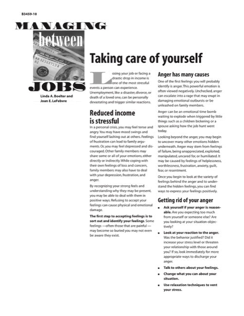Managing Between Jobs: Taking Care of Yourself