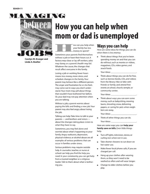 Managing Between Jobs: How You Can Help When Mom or Dad Is Unemployed