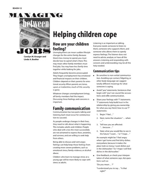 Managing Between Jobs: Helping Children Cope