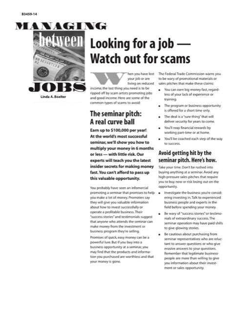 Managing Between Jobs: Looking for a Job—Watch Out for Scams