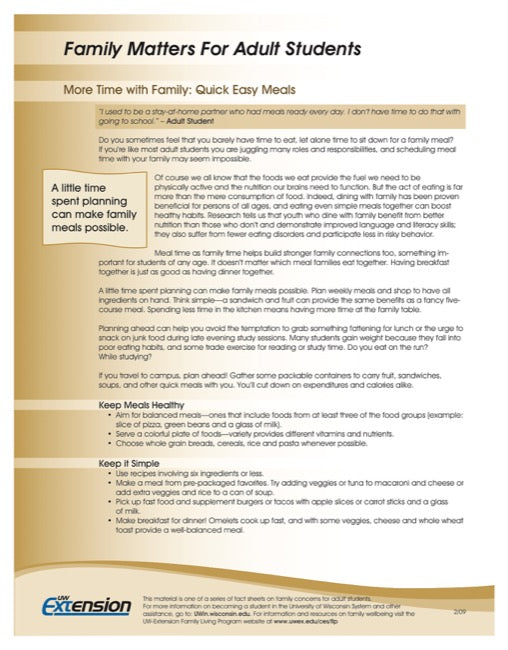 Family Matters for Adult Students-More Time with Family: Quick, easy meals