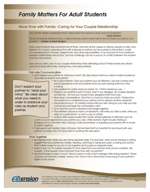 Family Matters for Adult Students-More Time with Family: Caring for your Couple Relationship