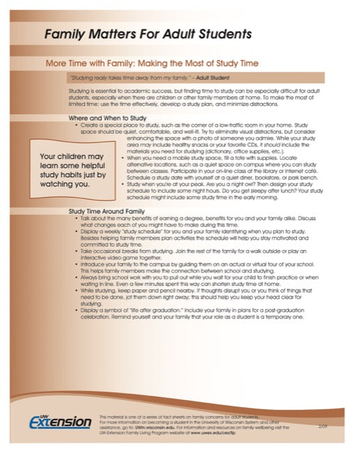 Family Matters for Adult Students-More Time with Family: Making the Most of Study Time