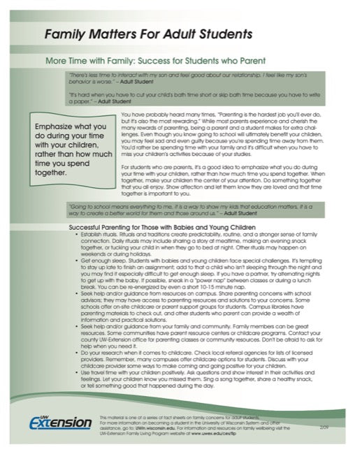Family Matters for Adult Students-More Time with Family: Success for Students who Parent