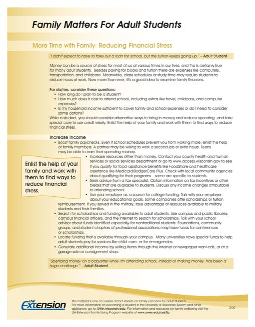 Family Matters for Adult Students-More Time with Family: Reducing Financial Stress