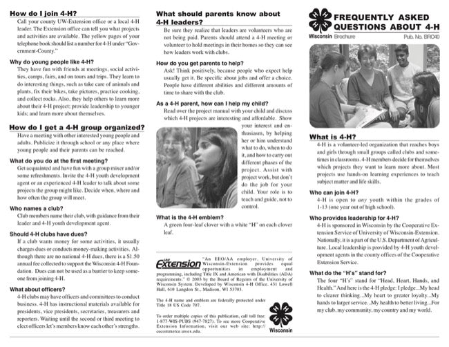 Commonly Asked Questions About 4-H