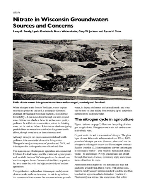 Nitrate in Wisconsin Groundwater: Sources and Concerns