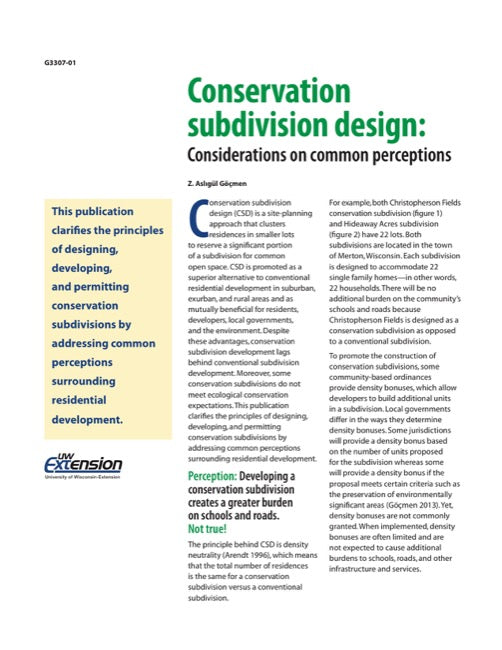 Conservation Subdivision Design: Considerations on Common Perceptions