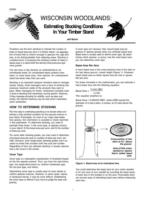 Estimating Stocking Conditions in Your Timber Stand