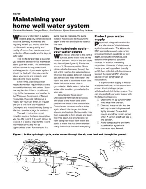 Maintaining Your Home Well Water System