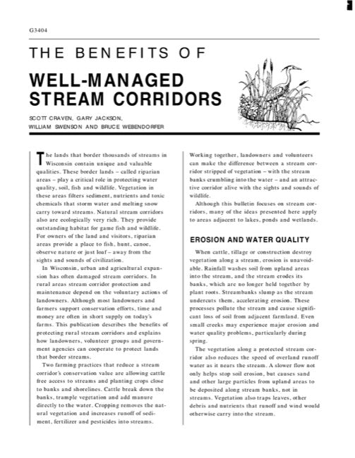 Benefits of Well-Managed Stream Corridors