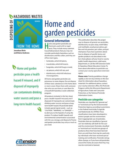 Disposing of Hazardous Wastes from the Home: Home and Garden Pesticides