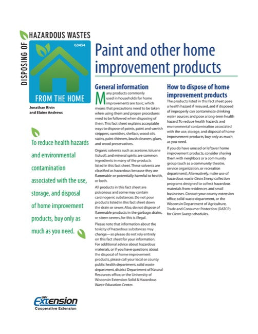 Disposing of Hazardous Wastes from the Home: Paint and Other Home Improvement Products