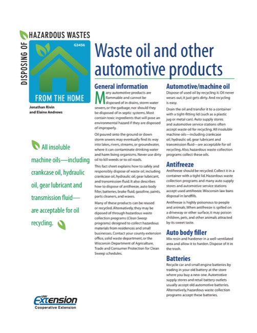 Disposing of Hazardous Wastes from the Home: Waste Oil and Other Automotive Products