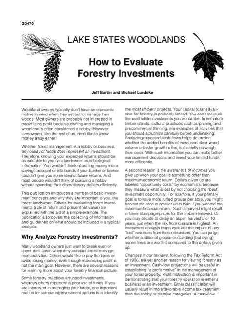 How to Evaluate Forestry Investments