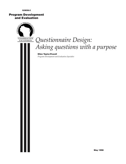 Questionnaire Design: Asking Questions with a Purpose