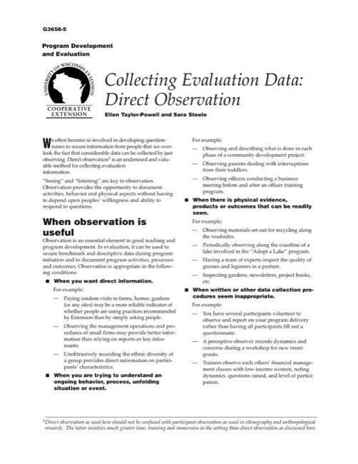 Collecting Evaluation Data: Direct Observation