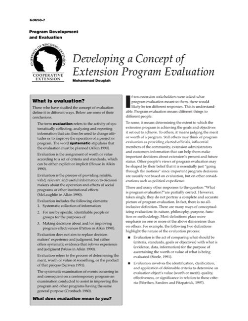 Developing a Concept of Extension Program Evaluation