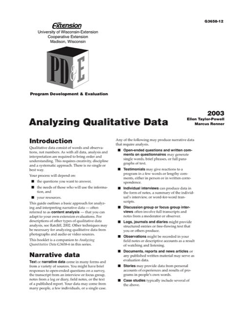Analyzing Qualitative Data